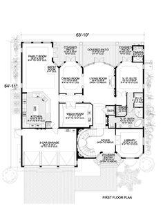 First Floor Plan of Mediterranean   House Plan 55903