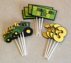 Tractor Cupcake Toppers Birthday Decorations by Scrappin2gether