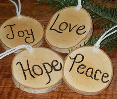 Rustic Advent Branch Tree Ornaments Birch Set of 4 Christmas Gift Tradition Hand Wood Burned via Etsy