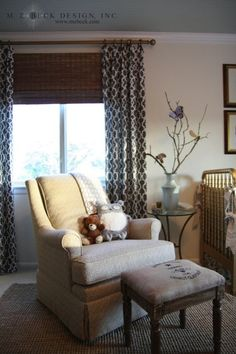 nurseries - F Schumacher Summer palace Fretwork Smoke C. R. Laine Holden Chair Waverly Cross Section - Charcoal Target Vintage Charm Wooden Stool drapes layered bamboo roman shades ivory walls jute rug gold Jenny Lind Crib blue painted ceiling
