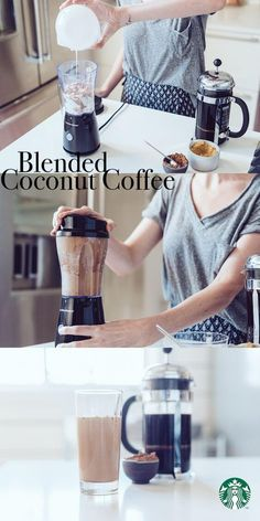 We see you, smoothie season and we're nuts for this Blended Coconut Coffee: Add ½ cup ice cubes, ½ Tbsp brown sugar, ½ Tbsp cocoa powder, ½ cup light coconut milk and ½ cup strong coffee (try Starbucks Sumatra) to blender. Blend on high until smooth. Pour into a tall glass, serve and enjoy.