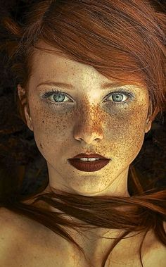 This image here is not rule of thirds because the picture is all centered and mo. This image here is not rule of thirds because the picture is all centered and mostly straight forward on the face and on. Beautiful Freckles, Beautiful Redhead, Beautiful Eyes, Beautiful People, Beautiful Women, Simply Beautiful, Amazing Eyes, Absolutely Stunning, Freckle Face