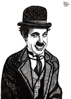 """""""You'll never find a rainbow if you're looking down."""" ― Charlie Chaplin ....... Ink on paper, 29,7 x 42 cm ....... チャーリー・チャップリン Caricatures, Charlie Chaplin, Cartoons, Cartoon, Cartoon Movies, Caricature, Comics And Cartoons, Comic Books, Caricature Drawing"""