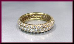 Vintage Cartier 18k Yellow Gold Diamond Eternity Band Wedding Band - R 417M by AntiqueJewelryNyc on Etsy