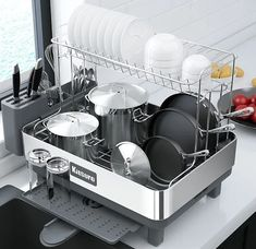 Ten of The Very Best Dish-Drying Racks You Can Buy Right Now Bamboo Dishes, Dish Drainers, Large Tray, Dish Racks, Kitchen Tools And Gadgets, Best Dishes, Kitchenware, Kitchen Appliances, Kitchen Sinks