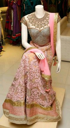 Beautiful Pink Embroidered Designer Lehenga Choli, Look fabulous in this Lehenga Choli, V&V Shop brings to you this exclusive Lehenga Choli which will impress you in many ways. The Lehenga Choli has been designed in a special way with beautiful intric Indian Attire, Indian Ethnic Wear, Indian Style, Indian Dresses, Indian Outfits, Desi Clothes, Indian Couture, Half Saree, India Fashion