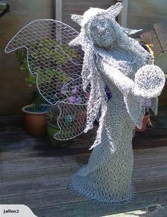 Jallen2: Chicken wire sculpture.. STANDING FAIRY.. | Trade Me Chicken Wire Sculpture, Creation Crafts, Garden Ornaments, Home Living, Driftwood, Fairies, Garden Sculpture, Larger, Clay