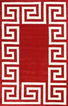 Satara Greek Key Red Rug