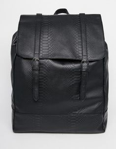 ASOS Backpack In Black With Snakeskin Effect