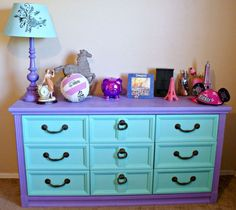 DIY Chalk Paint Furniture Ideas With Step By Step Tutorials - Purple and Mint Chalkpaint Drawers - How To Make Distressed Furniture for Creative Home Decor Projects on A Budget - Perfect for Vintage Kitchen, Dining Room, Bedroom, Bath Diy Dresser Makeover, Bedroom Furniture Makeover, Painted Bedroom Furniture, Chalk Paint Furniture, Distressed Furniture, Repurposed Furniture, Vintage Furniture, Diy Furniture, Dresser Makeovers