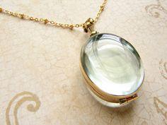 Oval beveled glass locket necklace personalized von soradesigns