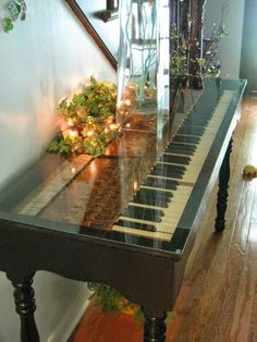 old piano made into a table...Love this