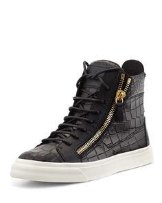 Crocodile-Print High-Top Sneaker, Nero by Giuseppe Zanotti at Neiman Marcus. $695.00