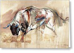 Bull Run Greeting Card by Dragan Petrovic Pavle