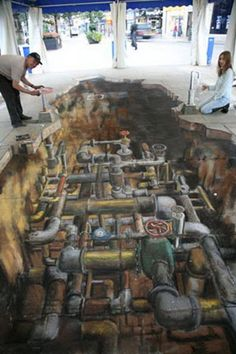 Street Art Graffiti 89 of the world's most mind-bending chalk drawings - Streetart- 89 of the wor 3d Street Art, Street Art Graffiti, Amazing Street Art, Street Artists, 3d Art, 3d Chalk Art, Chalk Artist, Art Violet, 3d Sidewalk Art