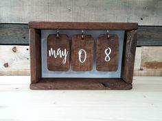 Rustic Wooden Calendar Box | Shadow Box Calendar | Perpetual Calendar | Wood Tags | Desk Calendar by porchhousedecor on Etsy https://www.etsy.com/listing/463652522/rustic-wooden-calendar-box-shadow-box