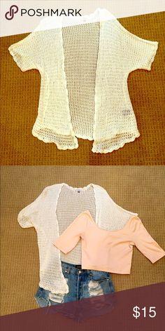 Selling this White Crochet Sweater on Poshmark! My username is: saraesawicki. #shopmycloset #poshmark #fashion #shopping #style #forsale #Tobi #Sweaters