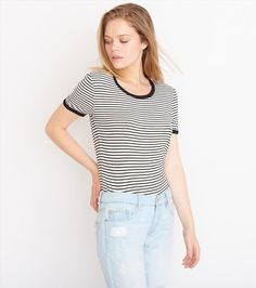 Striped Ringer Tee Garage Clothing, Back To School Outfits, Ringer Tee, Short Skirts, Casual Chic, Winter Fashion, Cute Outfits, T Shirts For Women, Tees