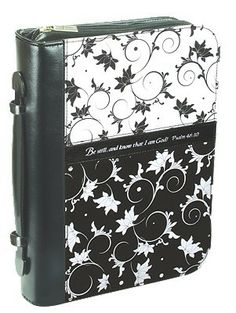 """A black and white print Bible / Book Cover, designed with a swirl pattern. Psalm """"Be still, and know that I am God"""" Bible Cases, Christian Art Gifts, Black And White Fabric, Black White, Christian Facebook, Kindle Cover, Swirl Pattern, Scrapbook Supplies, Psalms"""