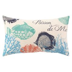 Linen-blend pillow with a multicolor seascape and French script.  Product: PillowConstruction Material: Linen blend co...