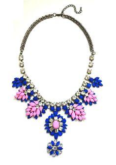 #DaisyGem   Designer Gold Pink Blue Flower Rhinestone Jeweled Stone Drop Statement Bib Necklace