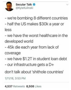 """You guys where never great and still aren't. """"yea we were and still are!"""" You are wrong. What about racism? Now a little less sexism but still a lot, also the president, I don't even have words. Pray For Venezuela, Intersectional Feminism, Faith In Humanity, Social Justice, Food For Thought, Equality, Decir No, Memes, Things To Think About"""
