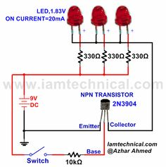 NPN Transistor With Three LED's as a Switch | IamTechnical.com