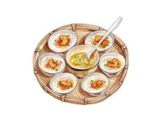 Vietnamese Food Illustrations on Behance A Food, Food And Drink, Food Doodles, Vietnamese Recipes, Vietnamese Food, Cute Food Art, Food Sketch, Food Cartoon, Food Painting