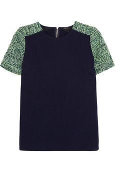 J.Crew Cotton-jersey and tweed top | NET-A-PORTER