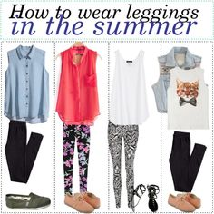 How to wear leggings in the summer by the-tip-of-the-week on Polyvore featuring H&M, Forever 21, Jane Norman, Fuchsia by Leonard, TOMS and Report