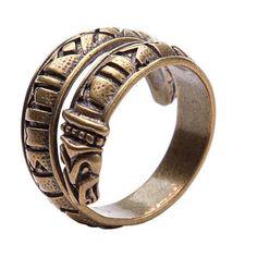 Bronze rune ring. Viking bronze jewerly. Elder Futhark ring. Dragon... ($28) ❤ liked on Polyvore featuring jewelry, rings, bronze ring, bronze jewelry and adjustable rings