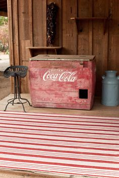 ⊱Birmingham Red Area Rug, nice complement to the Coke machine