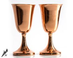 Pair of Vintage Coppercraft Guild Toasting/Wine Goblets - Made in Taunton Mass