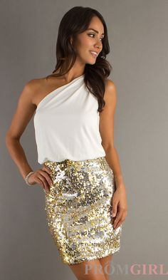 Semi-formal dress with gold sequins