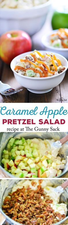 This Caramel Apple Pretzel Salad recipe is a delicious way to enjoy a taste of fall with crunch apples, candied pretzels and sweet caramel sauce. Try it as a side dish for your Thanksgiving or Christmas holiday dinner. Fruit Recipes, Apple Recipes, Fall Recipes, Cooking Recipes, New Recipes, Favorite Recipes, Recipies, Sauce Recipes, Cooking Tips