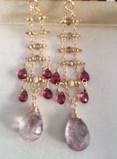 Rutilated Quartz  Garnet & Smoky Quartz Chandelier Earrings Rutilated Quartz, Smoky Quartz, Chandelier Earrings, Garnet, Artisan, Beaded Bracelets, Gemstones, Unique Jewelry, Handmade Gifts