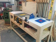 26 Ideas Diy Table Saw Station Workbenches Table Saw Workbench, Router Table, Workbench Plans, Woodworking Workbench, Woodworking Shop, Woodworking Projects, Woodworking Machinery, Table Saw Stand, Diy Table Saw