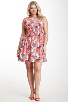 Jessica Simpson Smocked Sleeveless Print Dress - Plus Size