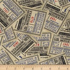 Vintage Varsity Packed Ticket Stubs Tan from @fabricdotcom  Designed by Stephanie Marrott for Wilmington Prints, this cotton print is perfect for quilting, apparel and home decor accents.  Colors include red, black, blue, and shades of tan.
