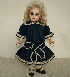 Wonderful All Original French Wool Bebe Doll Dress c.1880's
