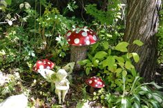 Paint old bowls to look like mushrooms  screw to logs.  Have a couple of these/ woodland party decor??