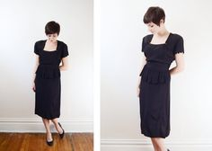 1940s Black Dress with Scallop Trim S/M by LoveCharles on Etsy, $112.00