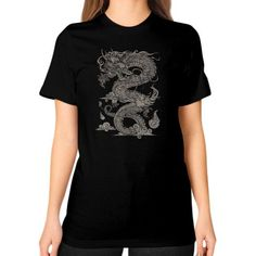 Vintage Ancient Chinese Dragon (On Dark) Unisex T-Shirt (on woman)