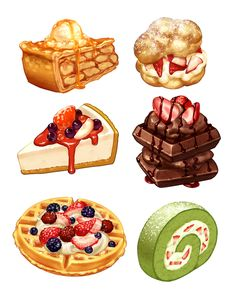 illustration art food drawing Fan Anime vi Kpop hoc thch xem th xem :)) Food Design, Desserts Drawing, Cake Drawing, Drawing Drawing, Cute Food Art, Dessert Illustration, Cute Food Drawings, Food Sketch, Food Cartoon