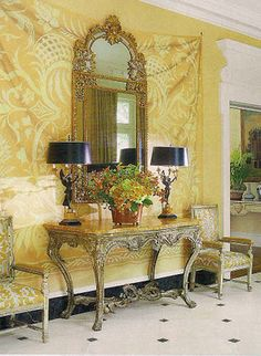 An interior design project by Bunny Williams in Richmond, Virginia, features decorative painting by Bob Christian. Photo from Architectural Digest, January, 2012.