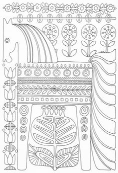 Scandinavian Coloring Book Pg 49 Pattern Coloring Pages, Cute Coloring Pages, Coloring Pages To Print, Adult Coloring Pages, Coloring Sheets, Coloring Books, Scandinavian Pattern, Scandinavian Folk Art, Scandinavian Embroidery
