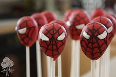 Spiderman birthday party cake pops