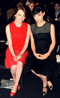 Emma Stone & Rooney Mara. BAM! Did they plan those color choices or did that just happen?
