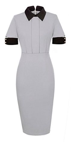 Homeyee Womens Rockabilly Lapel Patchwork Career Pencil Dress U732 8 Gray * See this great product.