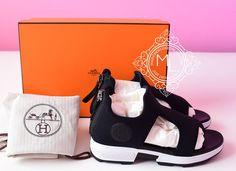 Hermes Womens Black Sport Sandal Slipper 36 Shoes - New